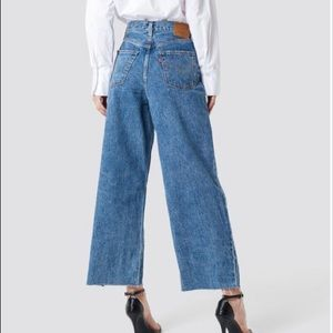 Levi Ribcage Pleated Wide Leg Crop Jean Women